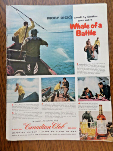 1955 Canadian Club Whiskey Ad Whale Hunting @ Churchill Manitoba