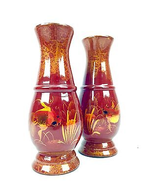 Vintage Pair Of Japanese Lacquered Vases / Red Vase / Mid 20th Century / Fish