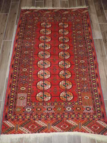 4x7ft. Handmade Vintage Tekke Turkoman Bokharra Wool Rug