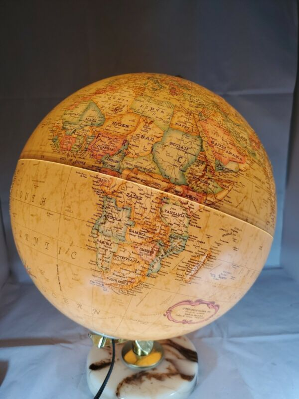 "Vintage Replogle Globe - Light Up World Premier Series 12"" Diameter Marble Base"