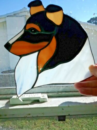 STAINED GLASS - DOG - SHELTLAND SHEEPDOG - BLACK TRI