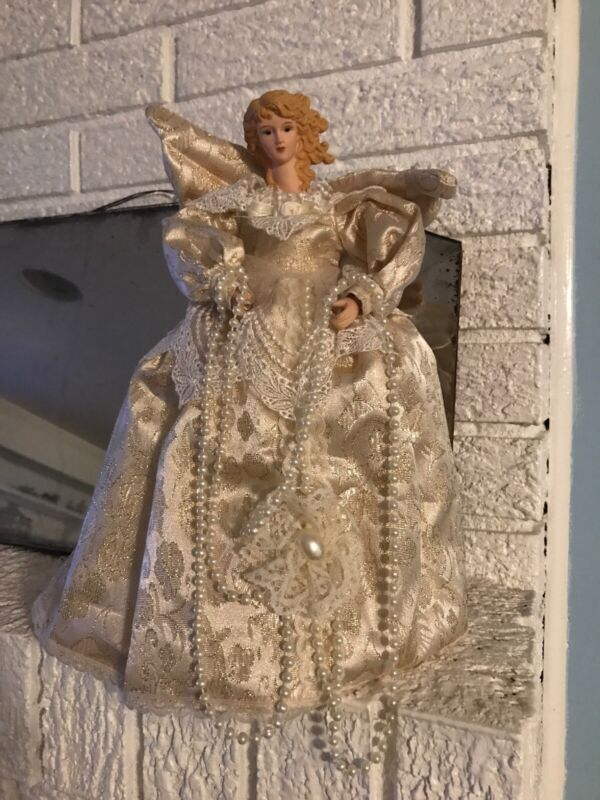 "Angel Christmas Tree Topper 12"" Ivory Cream Dress  Gold Wings Pearls"