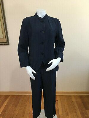 LAFAYETTE 148 Women Pant Suit S 12 Navy Blue Linen Wool Button Down Pockets Shif