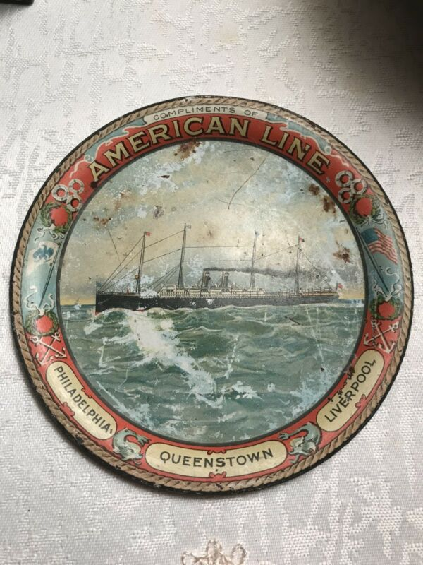 Antique Tip Tray American Line Ship collectible nautical
