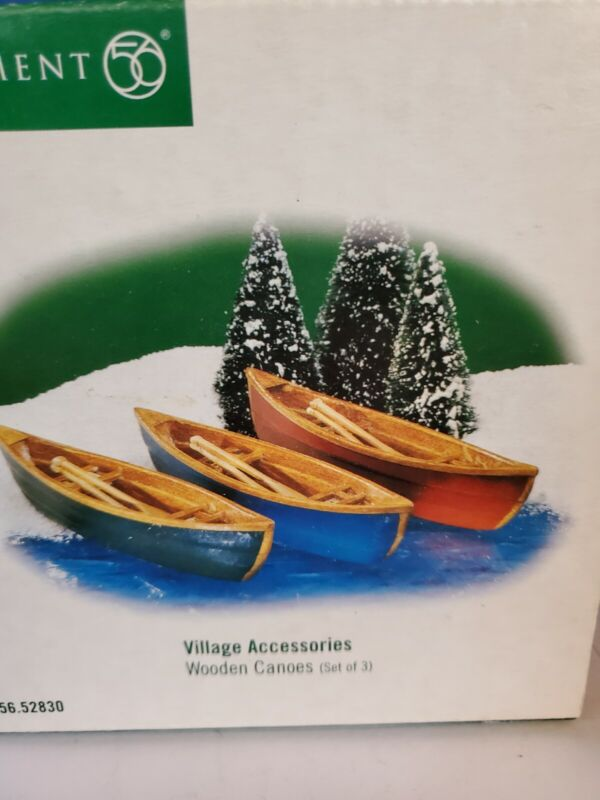 Department 56: Wooden Canoes - set of 3 - New England Village