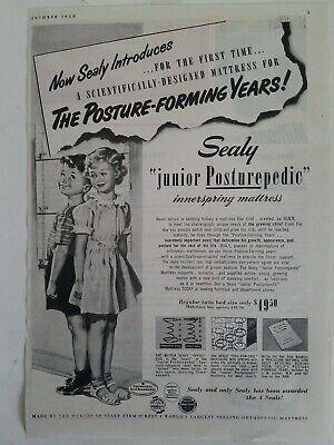 1950 Sealy Menor Posturepedic Cama Colchón para Niños Vintage Anuncio