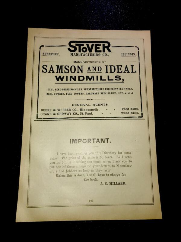 1908 Stover - Samson & Ideal Windmills Farm Advertising - Freeport - Wisconsin