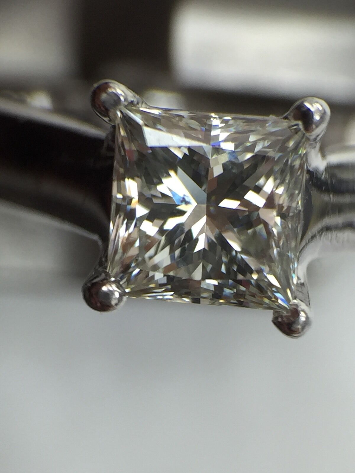 GIA Certified 0.70 ct Princess Cut Diamond Solitaire Engagement Ring F SI1 3