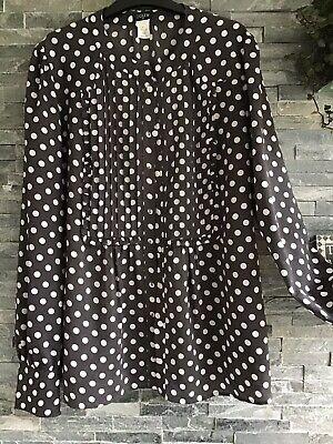 J Crew Grey & White Polka Dot Long Sleeve Blouse Mandarin Collar Uk 10 US 6