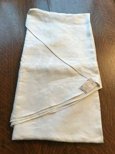 "107"" round FINE LINEN DAMASK TABLECLOTH vinage INITIAL C THANKSGIVING"