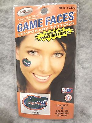 FLORIDA GATORS~GAME FACES~PRESS-ON WATERLESS 4 Pc TEMPORARY TATTOOS~NEW SEALED