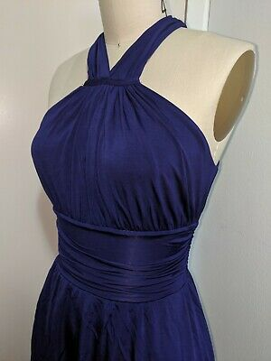 Anthropologie Velvet Ruched Purple Jersey Dress Small Made in USA