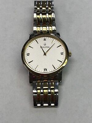 Bulova  Diamond Dial Two-Tone Band Dress Men's Watch C935134 Bulova Two Tone Bands