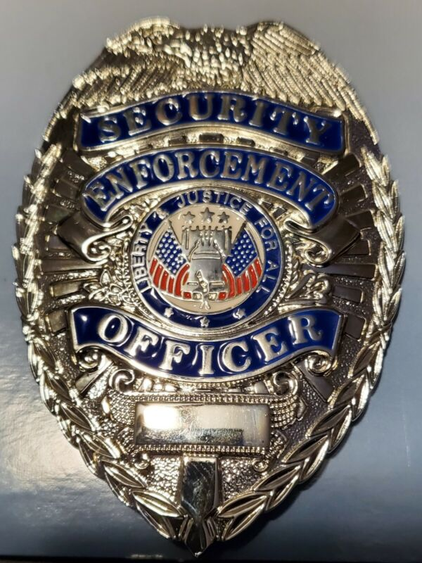 Security Enforcement Officer Badge SILVER [Blue on Silver]