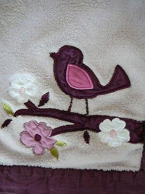 Lambs & Ivy Purple Plum Bird on Branch & Flowers Fleece Baby Blanket ()