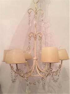 Beautiful shabby chic style candle chandelier cream white 5 tier Harrisville Ipswich South Preview