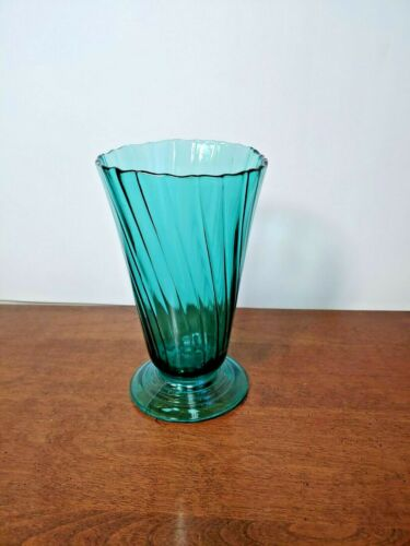 JEANNETTE PETAL SWIRL ULTRAMARINE FOOTED VASE - UNUSUAL SIZE