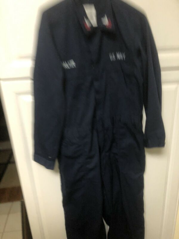 44S US NAVY SAILOR BLUE 44 Short 44 S Jumpsuit COVERALLS With Patches