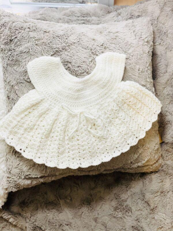 Handmade Crochet Baby Dress Bonnet White Baptism Christening Newborn 0-3 Months