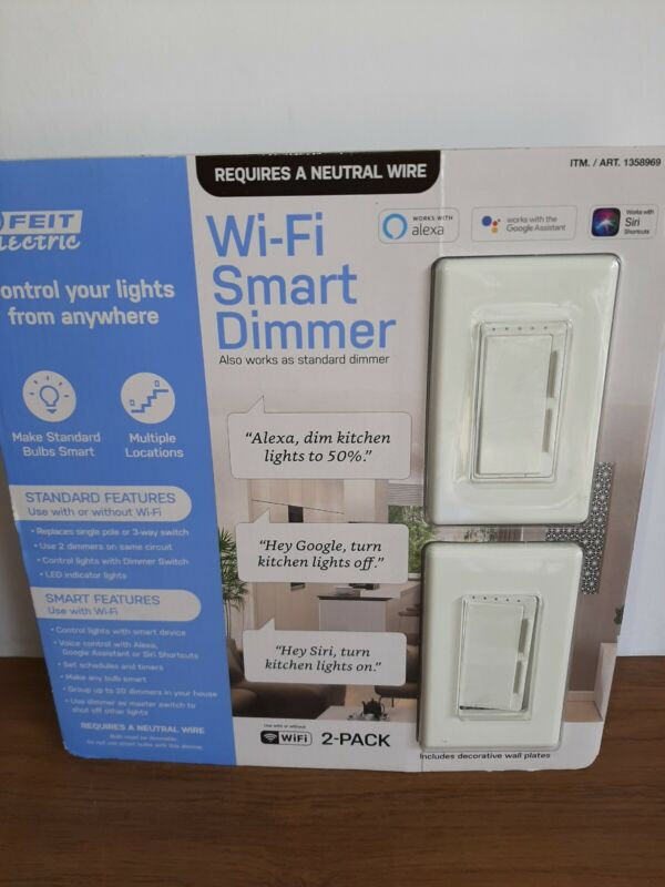 2 Pack - Feit Electric Wi-Fi Smart Dimmer 3-way Switch Alexa & Google New Open