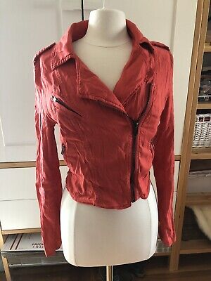 FREE PEOPLE Moto Jacket 8 Orange Zippers Long Sleeve Pockets Linen Blend