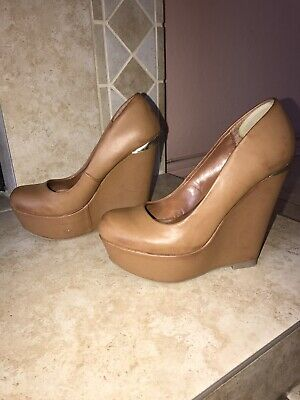 Tan, Cognac, Leather Wedge Pumps, Size 6.5 Cognac Leather Pump