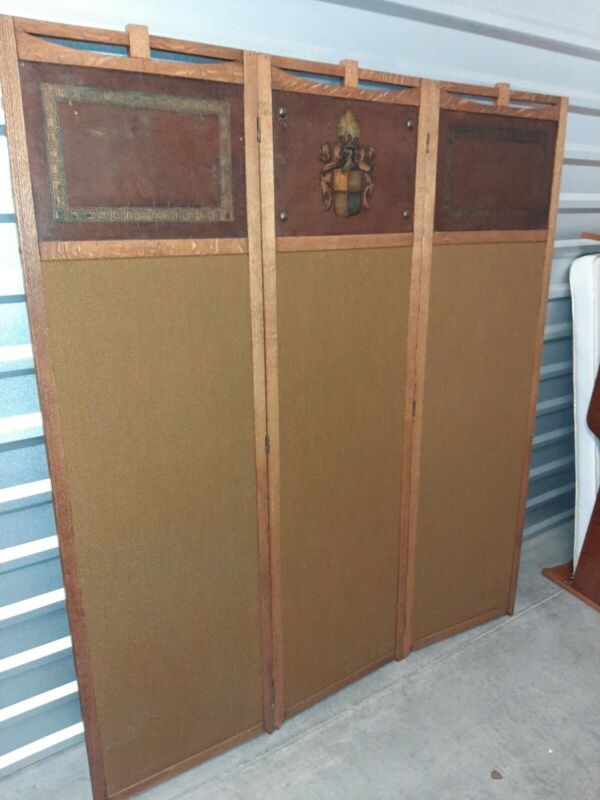 Vintage Privacy Screen Room Divider tooled leather 3 panel Oak