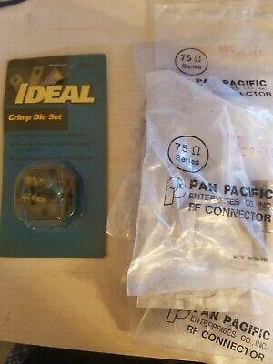 Ideal 30-577 Crimp Die Set And 10 - Bnc Connectors Bnc-3029 For Rg-11 Coax
