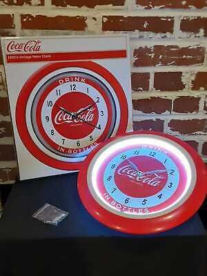 NIB Coca-Cola Neon Clock 1950s Vintage Drink In Bottles Made in 2010