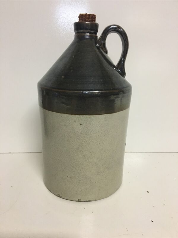 ANTIQUE VINTAGE CERAMIC JUG HAND THROWN R.C.P. CO ACRON OH TWO TONE SALT GLAZED