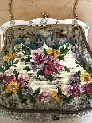 VINTAGE RETRO HANDBAG EVENING PARTY TAPESTRY FLORAL ANTIQUE