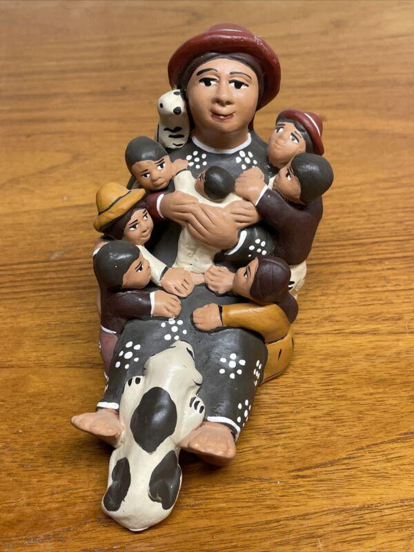 Vintage Handmade Clay Storyteller Dog/Puppy Children Baby, Folk Art made in Peru