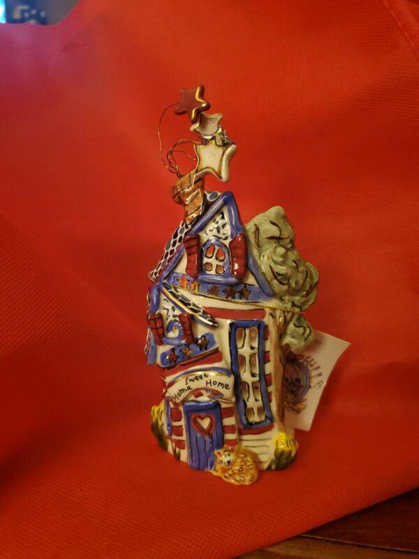 Goldminc Blue Sky Flag House Patriotic T Lite Tealite Candle Holder NEW Claywork