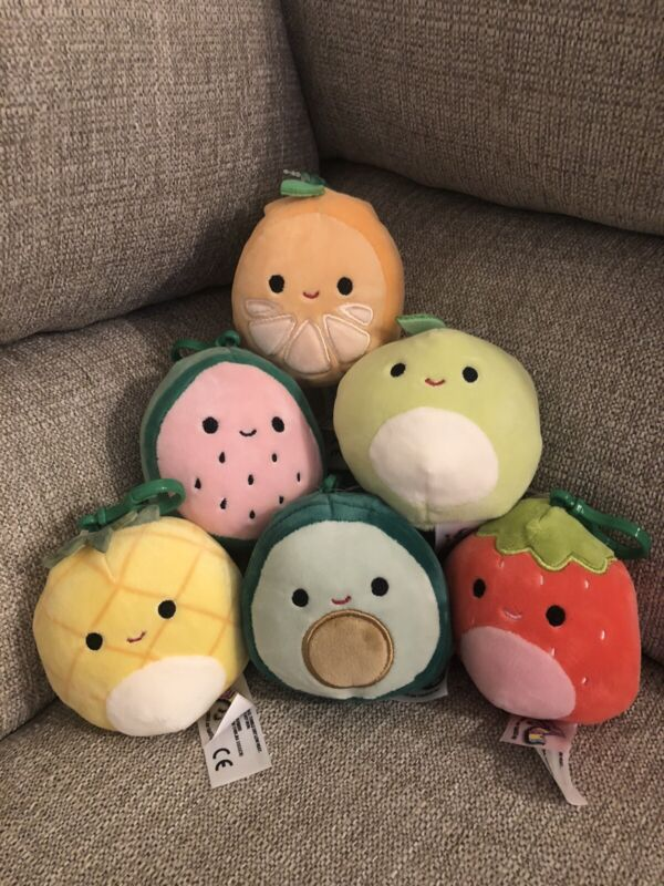 """Kellytoy Squishmallow Assorted Fruits 3.5"""" Mini Clip Ons (Pick 3)"""