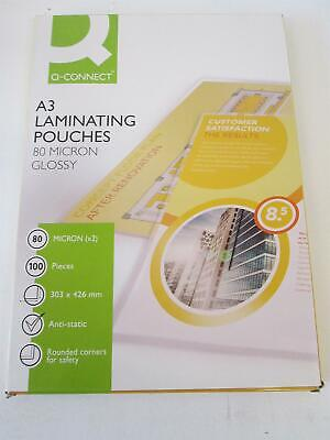 Qconnect A3 Glossy Laminating Pouches 80x2 (160) micron Pack of 100 for sale  United Kingdom