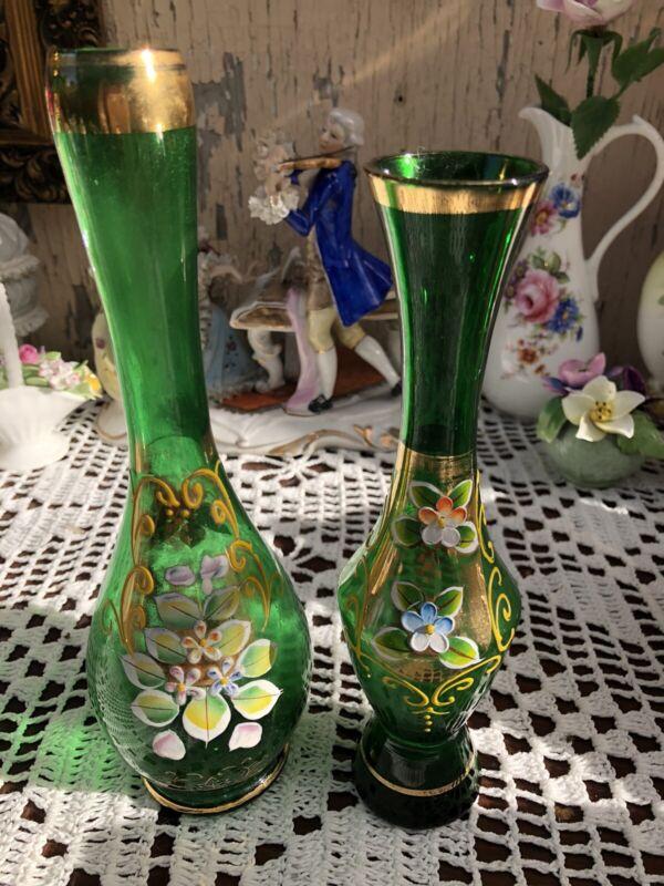 Bohemian enamel Green Crystal Vase X2