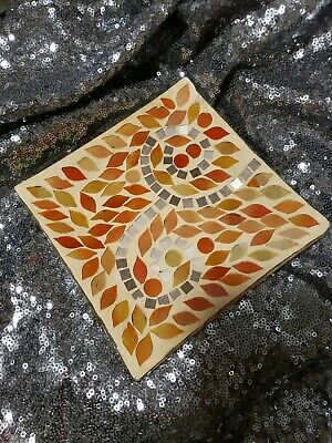 """YANKEE CANDLE AUTUM MOSAIC CANDLE PLATE NWT Orange Fall colors square 6"""" x 6"""""""