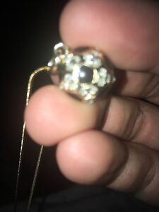 """16"""" 14k solid gold chain and real diamond soccer pendant"""
