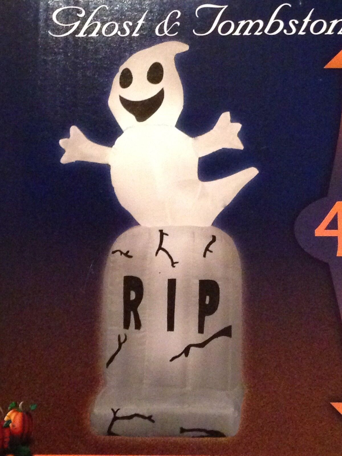 Last 4' Halloween Led Ghost On A Tombstone Airblown/inflatable Decoration