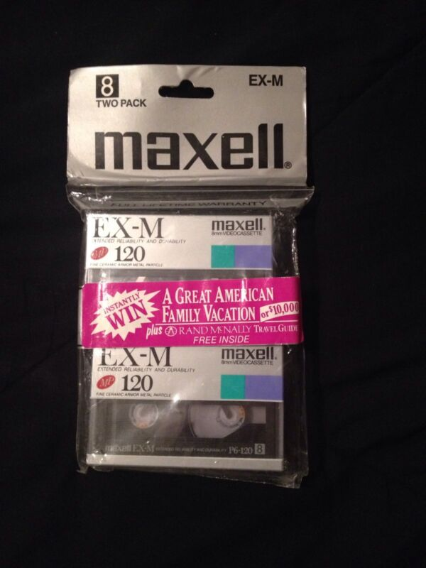 Maxell 2 Pack Ex-M MP 120 8mm Video Blanks NEW