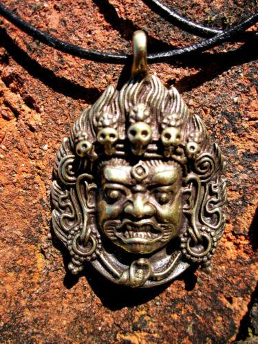 "1 3/4"" WRATHFUL DEITY MAHAKALA TIBETAN BUDDHIST BRONZE PENDANT LEATHER NECKLACE"