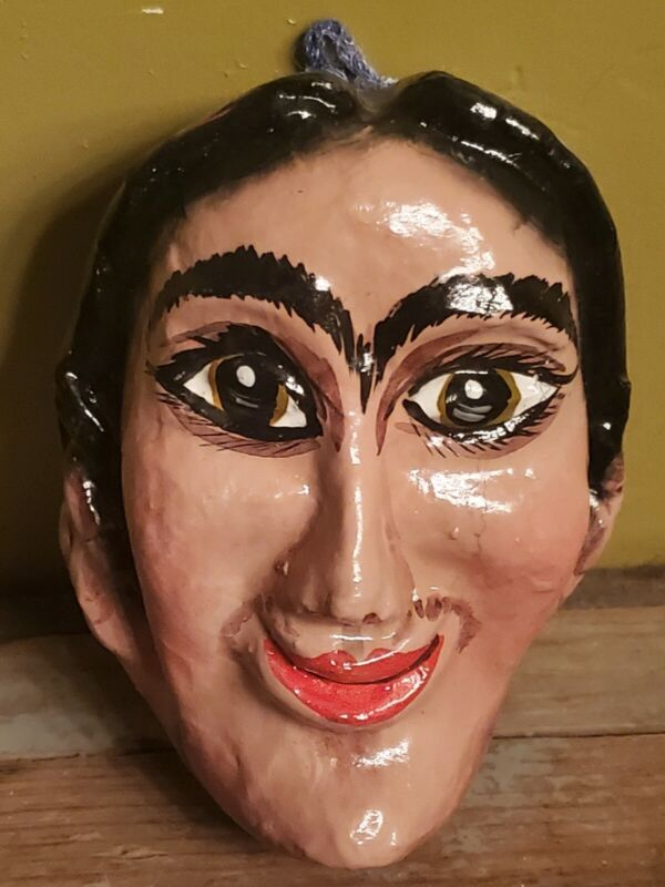 Mexican Folk Art Paper Mache Mask Frida Kahlo Hand Painted Wall Hanging
