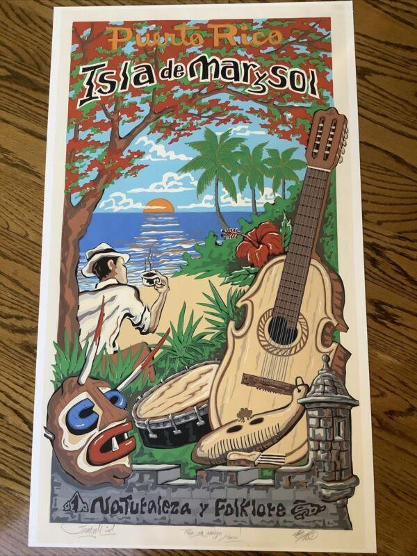 Vintage Signed Samuel Lind Puerto Rico Serigraph ? Print Travel Poster Musician
