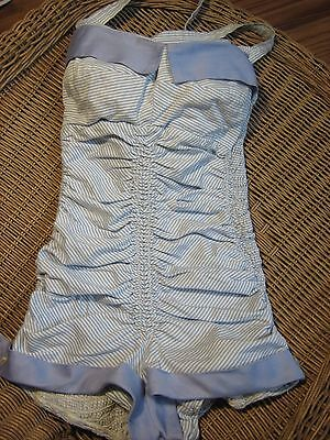 SWIMSUIT VINTAGE 1940'S 1950'S PINUP  AUTHENTIC WOW ! CUFFED, SHIRRED,  SIZE S