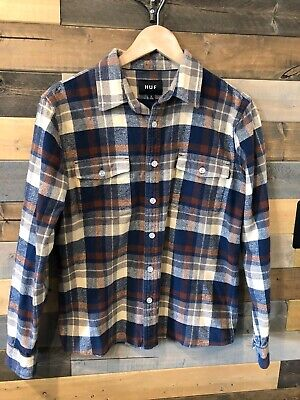 HUF Men's Flannel Shirt Long Sleeve Plaid Blue Brown Beige Size Small
