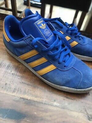 Adidas Gazelle Uk 11 Blue And Yellow Vintage Rare Casual Trainers