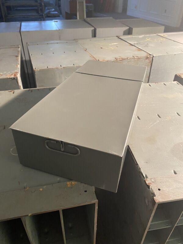 SAFE DEPOSIT BOX METAL DRAWER! SAFETY BANK TRAY CASE VINTAGE GREY / GREEN