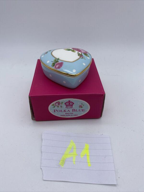 NEW Royal Albert Polka Blue England Heart Box