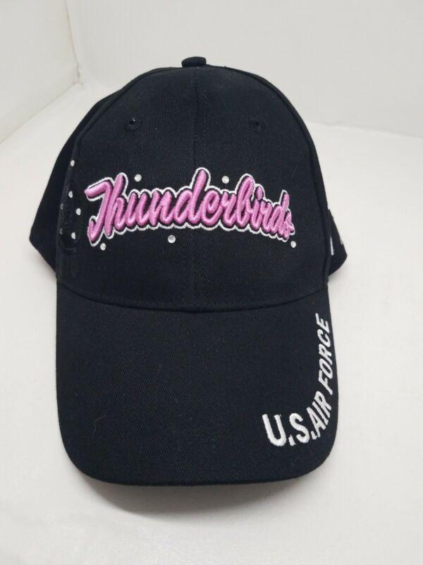 US Air Force Thunderbirds Bedazzled Black  & Pink Baseball Cap Hat Flightline
