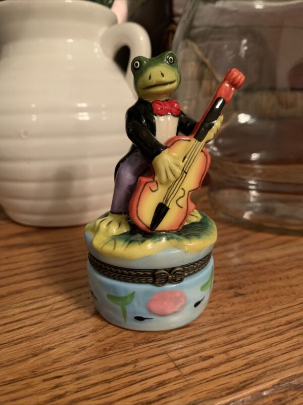 Frog Playing Cello On Small And Round Trinket Box